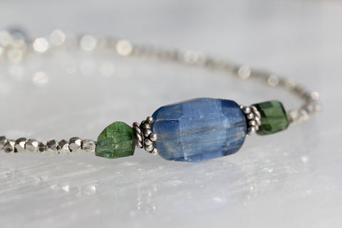 Kyanite Tourmaline Hill Tribe Silver Bracelet
