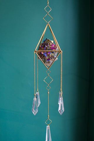 Titanium Quartz Geometric Sun Catcher Chandelier