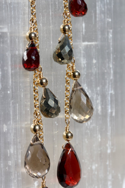 Briolette Chain Drop Earrings with Garnet, Smokey Quartz and Pyrite
