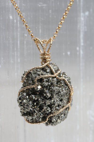 Pyrite Gold Druzy Necklace