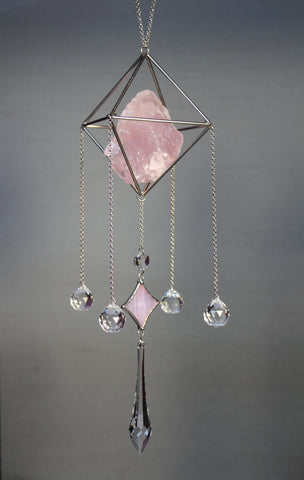 Rose Quartz Preciosa Crystal Sun Catcher Chandelier