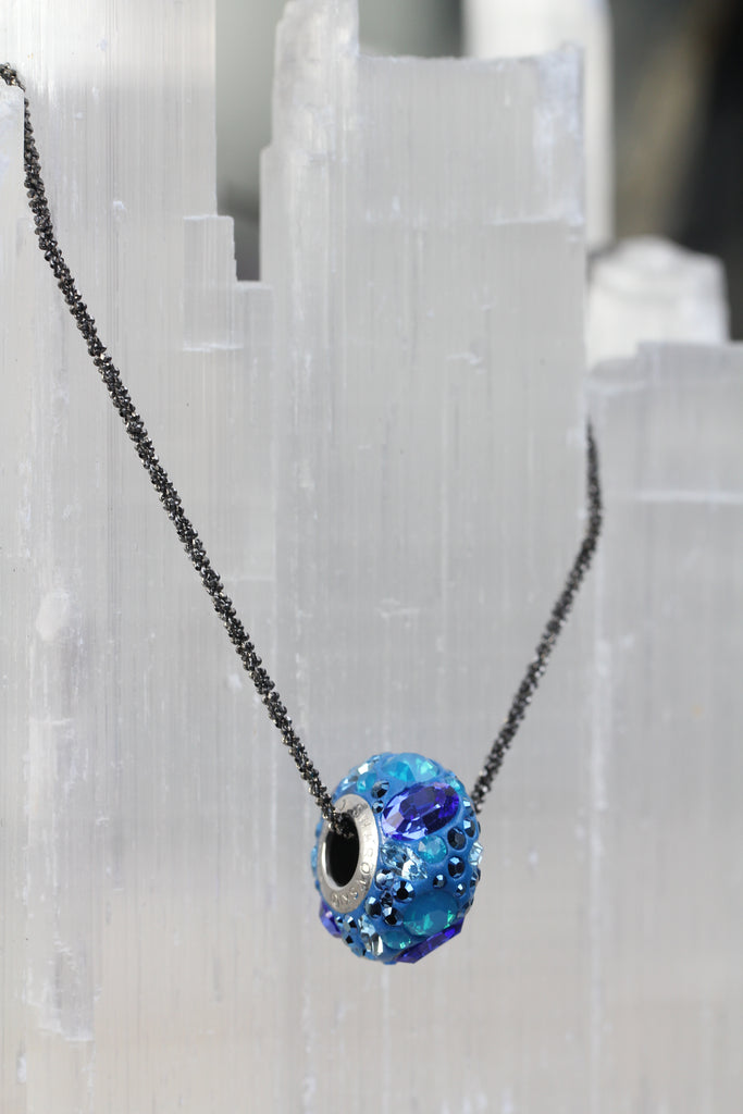 Bermuda Blue Pave Swarovski Crystal Bead Necklace
