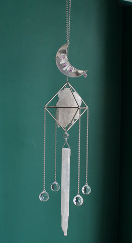 Quartz Crystal Moon Selenite Sun Catcher Chandelier