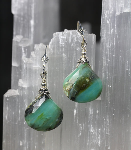 Peruvian Opal Bali Silver Earrings