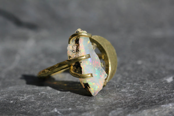 Ethiopian Opal Moon Ring