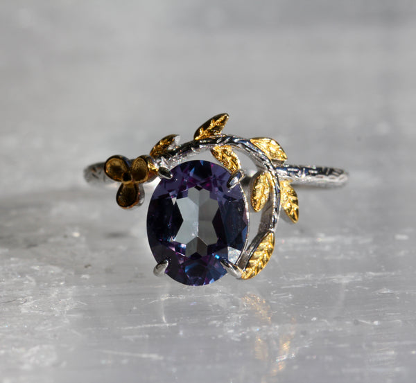 Simulated Alexandrite Delicate Flower Ring