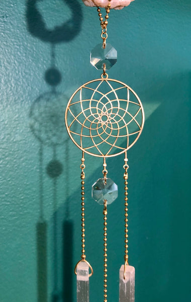 Dream Catcher Geode Selenite Crystal Sun Chandelier