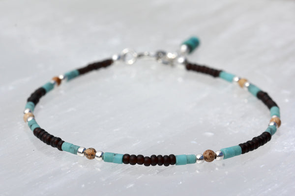 Turquoise Jasper Czech Glass Beaded Bracelet