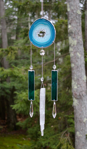 Blue Agate Selenite Crystal Sun Catcher