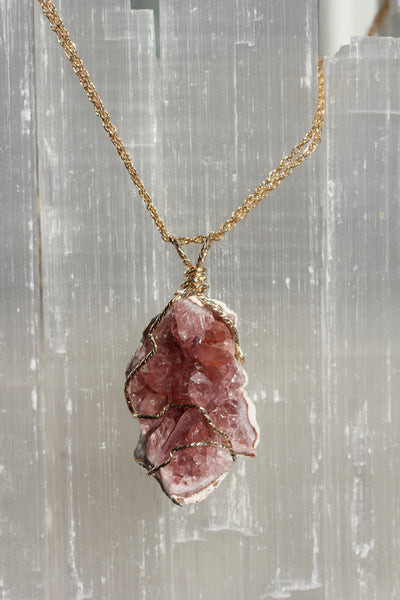 Pink Amethyst Gold Geode Pendant