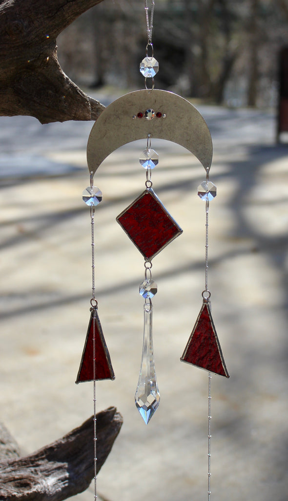 Red Celestial Crystal Prism Mobile with Stained Glass