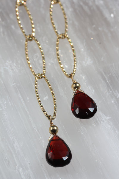Garnet Diamond Cut Long Drop Earrings