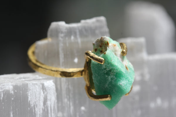 Rough Emerald Brass Ring