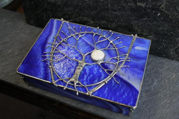 Bright Blue Tree of Life Stained Glass Box