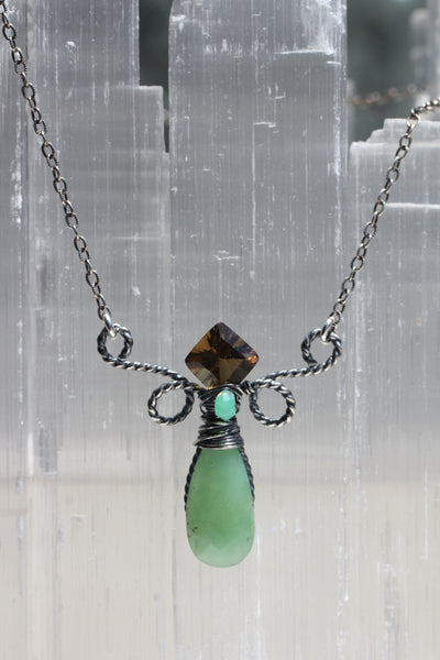 Chrysoprase Whisky Quartz Crown Necklace