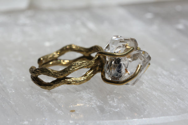 Herkimer Diamond Double Crystal Ring