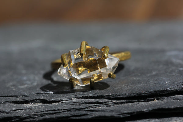 Herkimer Diamond Brass Ring - size 6