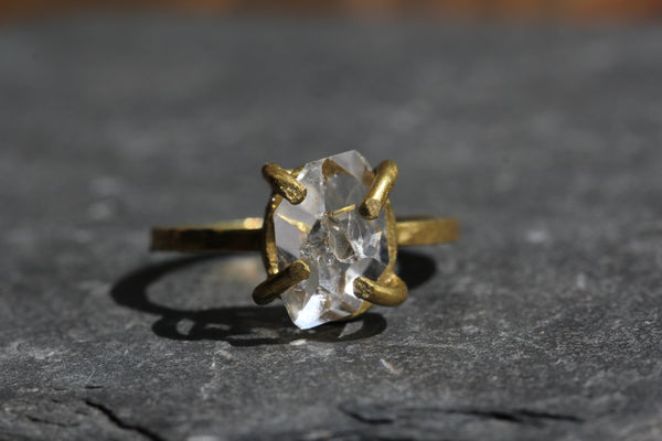 Herkimer Diamond Brass Ring - size 8