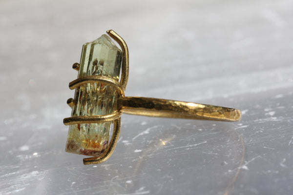 Yellow Apatite Crystal Brass Ring