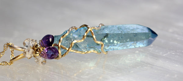 Aqua Aura Crystal Point Pendant - with Amethyst and Herkimer Diamond