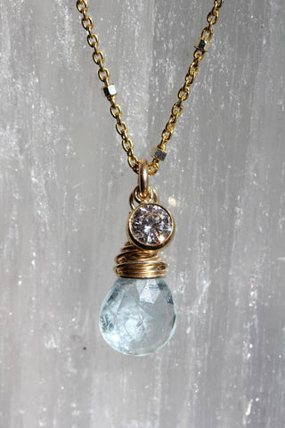 Aquamarine Two Toned Delicate Necklace