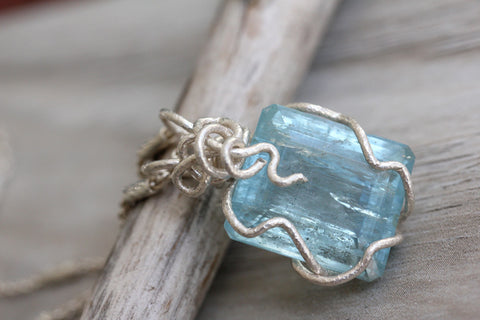 Aquamarine Square Cut Gem Necklace