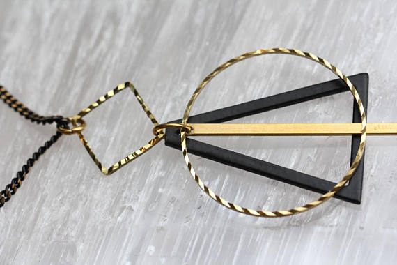 Black and Gold Geometric Necklace