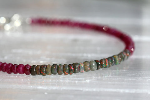 Black Opal and Ruby Beaded Bracelet