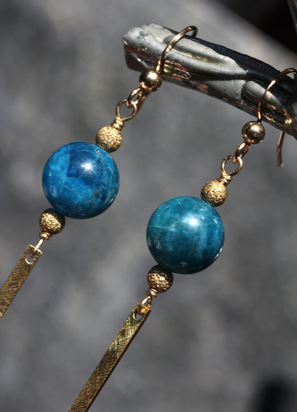 Blue Apatite Brass Bar Earrings