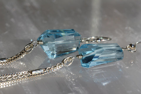 Blue Topaz Faceted Nugget Chain Drop Earrings