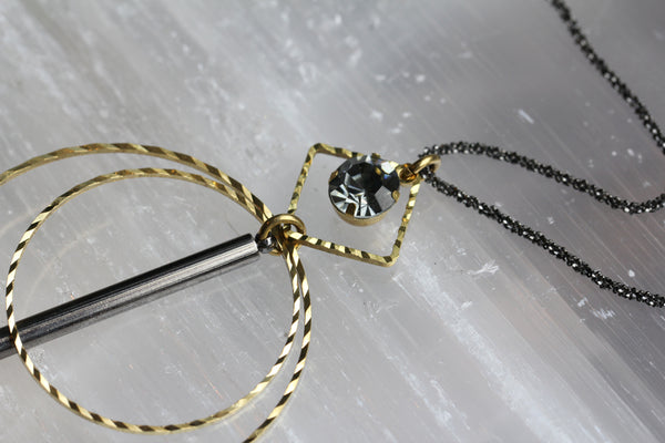 Gunmetal Brass Circle Drop Necklace