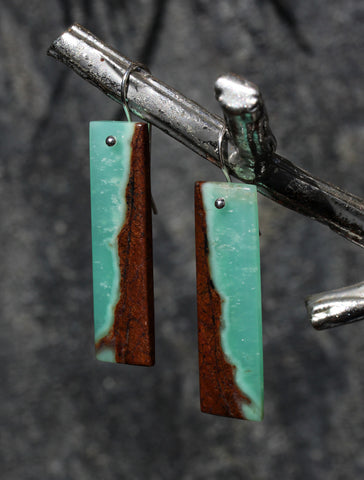 Chrysoprase Long Tile Earrings