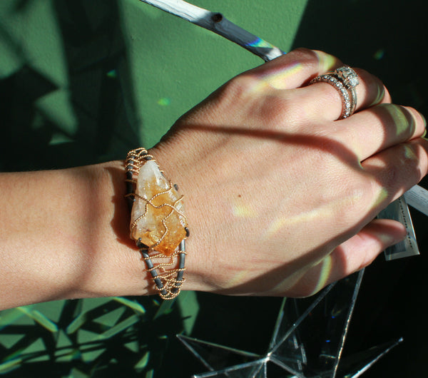 Citrine Crystal Gold Wrap Cuff - Annick Designs - 5