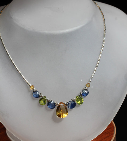 Citrine Peridot Kyanite Beaded Necklace - Annick Designs - 5