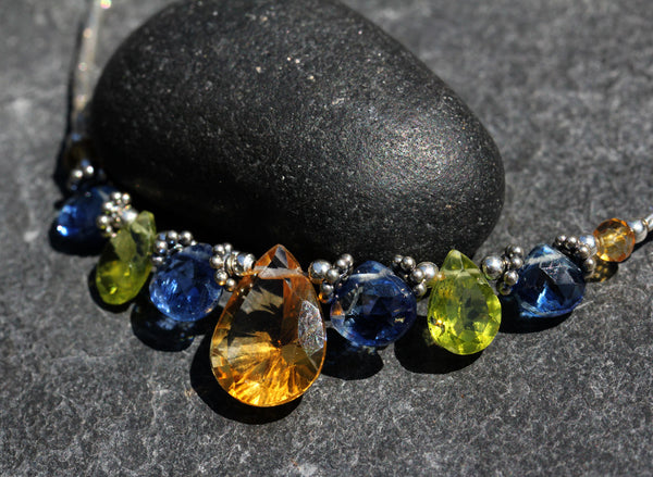 Citrine Peridot Kyanite Beaded Necklace - Annick Designs - 4