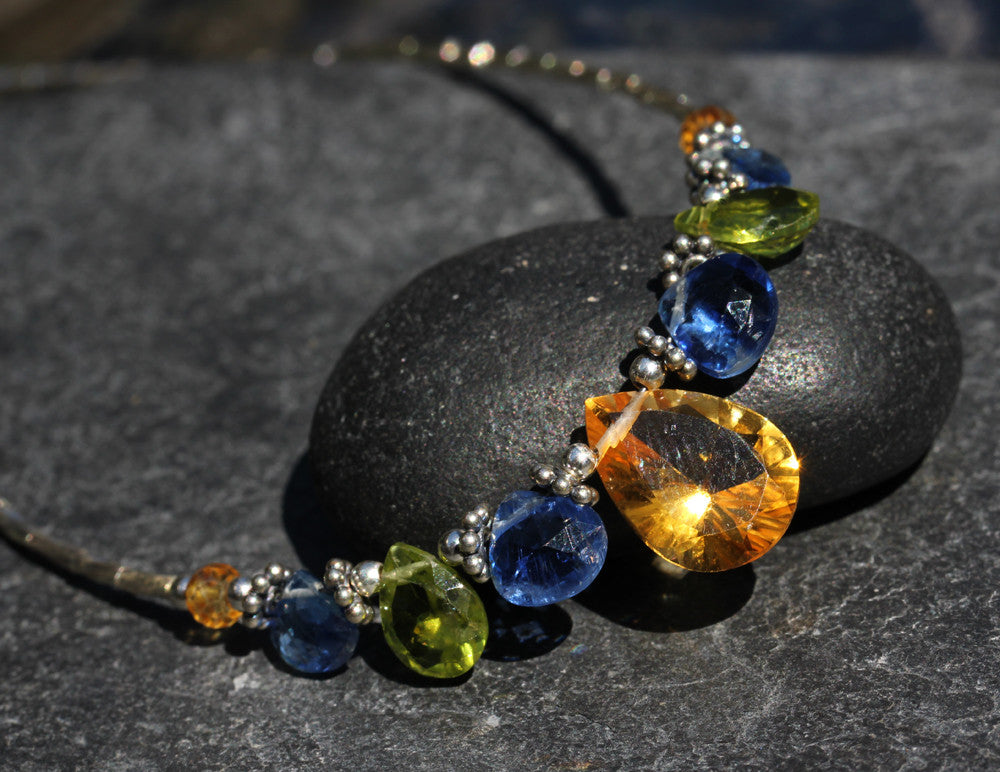 Citrine Peridot Kyanite Beaded Necklace - Annick Designs - 1