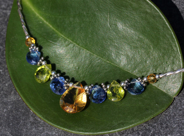 Citrine Peridot Kyanite Beaded Necklace - Annick Designs - 2