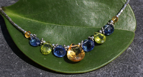 Citrine Peridot Kyanite Beaded Necklace - Annick Designs - 3