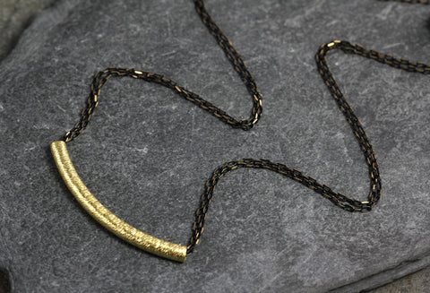Diamond Cut Brass Tube Necklace - Annick Designs - 1