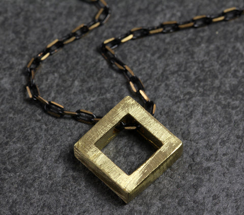 Brass Diamond Block Necklace - Annick Designs - 1