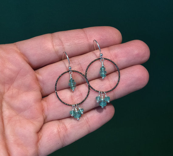 Colombian Emerald Oxidized Ring Droplet Earrings