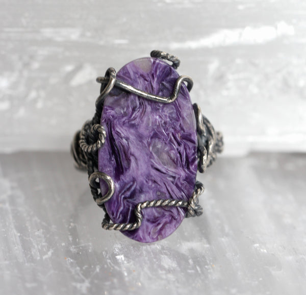Charoite Oval Wrap Ring