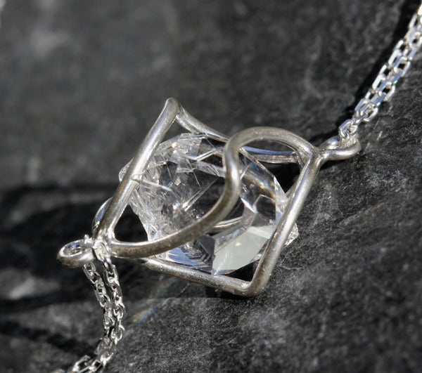 Herkimer Diamond Cage Necklace