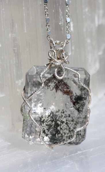 Large Lodolite Emerald Cut Pendant