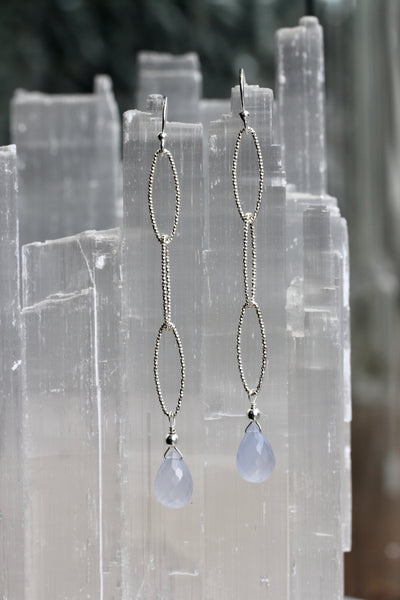 Blue Chalcedony Diamond Cut Earrings