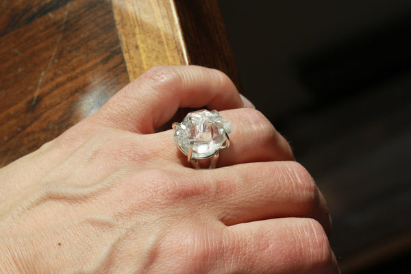 Herkimer Diamond Hopper Crystal Ring