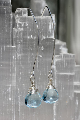 Blue Topaz V Wire Earrings