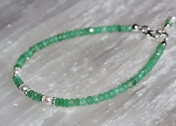 Chrysoprase Fresh Water Pearl Stacking Bracelet