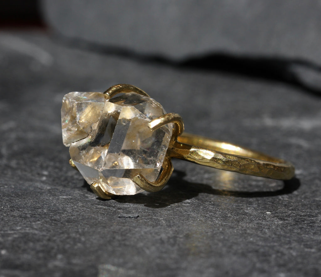Herkimer Diamond Brass Ring