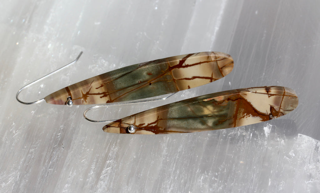 Picasso Jasper Long Teardrop Earrings